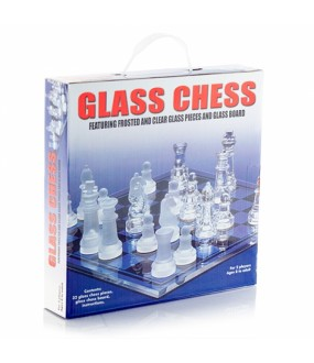 Glass Chess Featuring Frosted and Clear Glass Pieces Plus Board