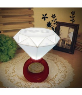 Diamond Ring USB Desk Bedroom LED Lamp Night Light Blue or Red