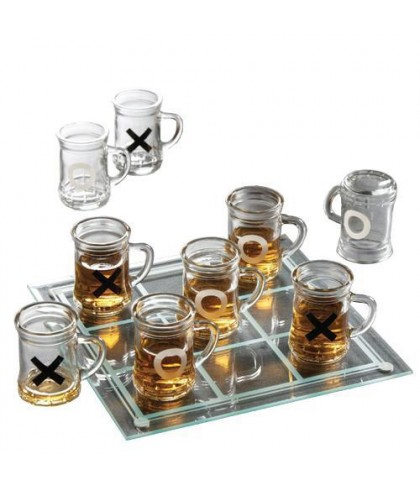 Glass Crystal Drinking Tic Tac Toe Game with Shot Glasses