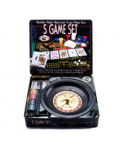 5 in 1 Game Set Casino Poker/Roulette/Blackjack/Craps/Poker Dice Ideal for Gifts